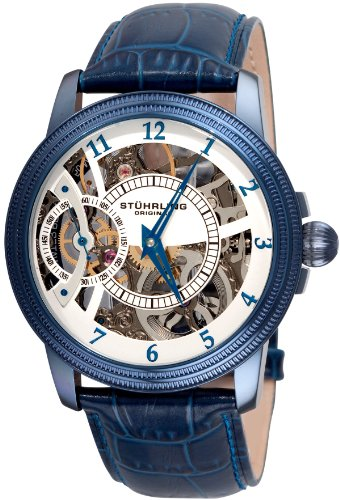 Stuhrling Original Men's 228.33L5C3 Symphony Saturnalia Brumalia Mechanical Skeleton Blue Watch