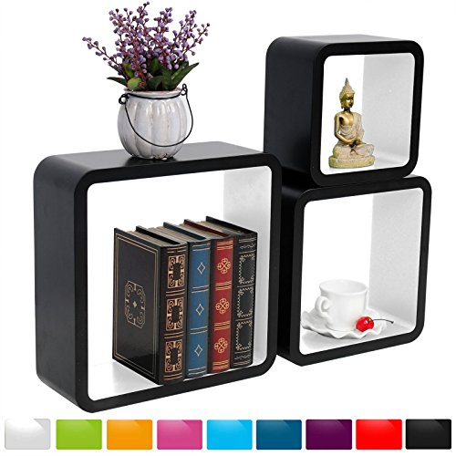 Bücherregal schwarz weiß  WOLTU RG9269ws-c Schweberegal Wandregal CD/DVD Cubes, MDF ...