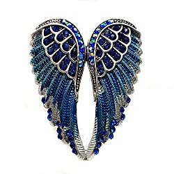 Gothic Blue Crystal Metallic Angle Wing Brooch