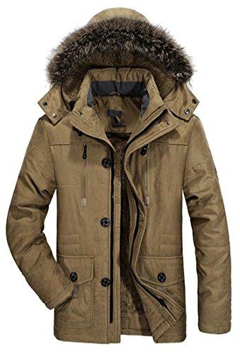 Padded Hooded Coat Men's Parka Outwear Puffer Thick Winter TTYLLMAO Khaki Fur 6EqSK