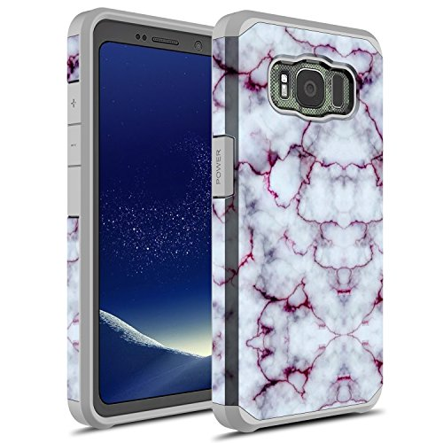 Galaxy S8 Active Case, Rosebono Hybrid Dual Layer Shockproof Hard Cover Graphic Fashion Cute Colorful Silicone Skin for Samsung Galaxy S8 Active (Pluple Marble)
