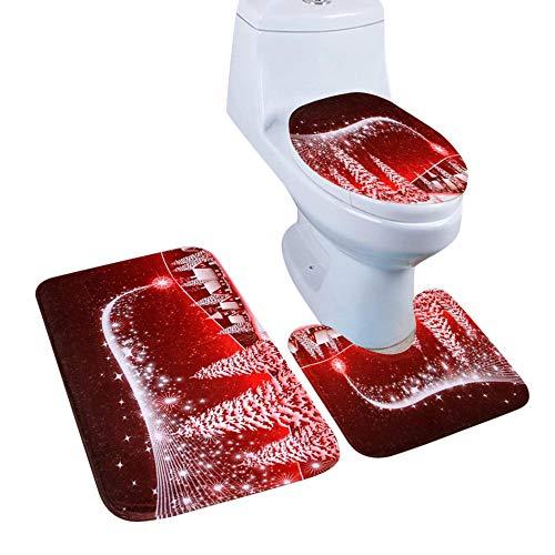 (Sunshinehomely 3PC/Set Christmas Snowman Santa Bathroom Non-Slip Pedestal Rug + Toilet Seat Cover + Bath Mat Set Red Xmas Decorations (A))