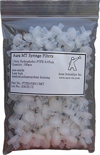 Aura MT Syringe Filter, PTFE, Hydrophobic, 0.45um Pore Size, 13mm Diameter (Pack of 100)