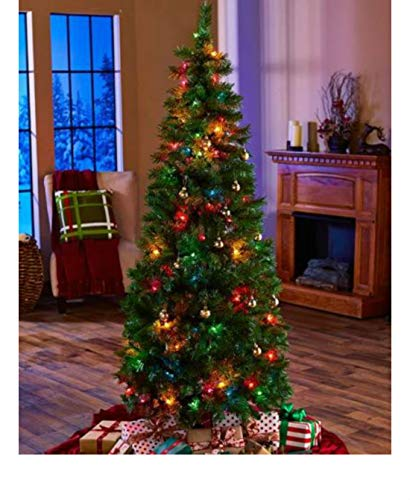 6ft PRELIT POP UP Christmas Tree 100 Multi Colored Lights 558 Tips Easy Assembly