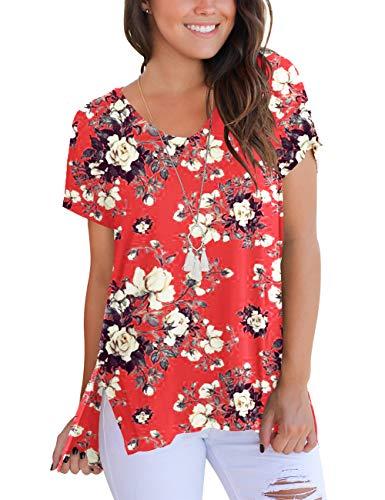 Junior Floral Print Tops Short Sleeve Cute T Shirts Summer Tees Fashion Clothes Coral M