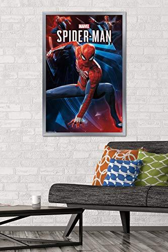"Trends International Marvel Comics - Spider-Man - Poses Wall Poster, 22.375"" x 34"", Silver Framed Version"