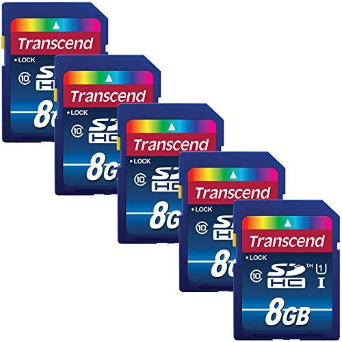 Transcend 8GB SDHC Memory Card Premium Class 10 UHS-I (Pack of 5) TS8GSDU1 - Top Value Bundle