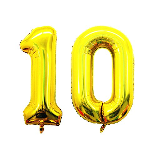 GOER 42 Inch Gold Number 10 Balloon,Jumbo Foil Helium Balloons for 10th Birthday Party Decorations and 10th Anniversary Event for $<!--$8.99-->