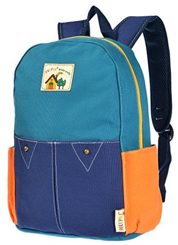 ArcEnCiel Childrens' Cute Canvas School Backpack Rucksack Lunch Bag (Blue)