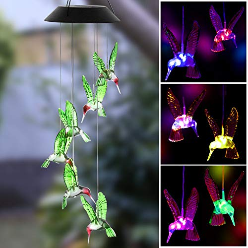 KUAHAIHINTERAL Wind Chime Outdoor Led Solar Powered Wind Chimes for Home/Party/Yard/Garden Decoration