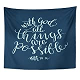 VaryHome Tapestry Religious All Things Are Possible Quote Modern Calligraphy Bible Verse Believe Home Decor Wall Hanging for Living Room Bedroom Dorm 50x60 Inches