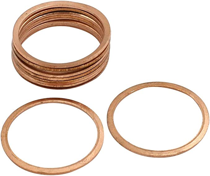 X AUTOHAUX 10 Pcs 20mm Inner Diameter Copper Washers Flat Sealing Rings Gasket Fitting