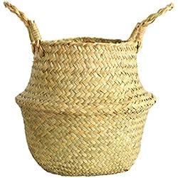 Cesto de flores tejidas a mano Fenebort, Organizador de bolsas de almacenamiento de hierbas marinas naturales con manija plegable para frutas de maceta de picnic de lavandería