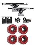 TGM Skateboards RKP Raw Longboard Trucks Wheels Package 60mm x 41mm 83A 220C Red