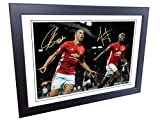 Signed 12x8 Black Soccer Zlatan Ibrahimovic Paul Pogba Manchester United Autographed Photo Photograph Football Picture Frame Gift A4