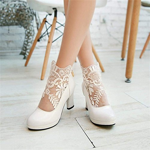 Ye Blanc Bottes Vernies Hiver Broderie Talon Chaussure Zip Plateforme Bottins Haut Femme AFASxr