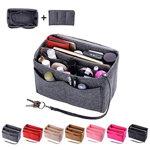 Purse Organzier, Bag Organizer with Metal Zipper (X-large, Grey)