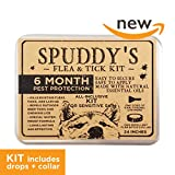Dog Flea Treatment Collar - Flea Collar for Dogs - 6-8 Month Flea and Tick Prevention Control - Hypoallergenic, Waterproof, Safe, Natural Tick Treatment - Spuddy's Complete Combo Kit