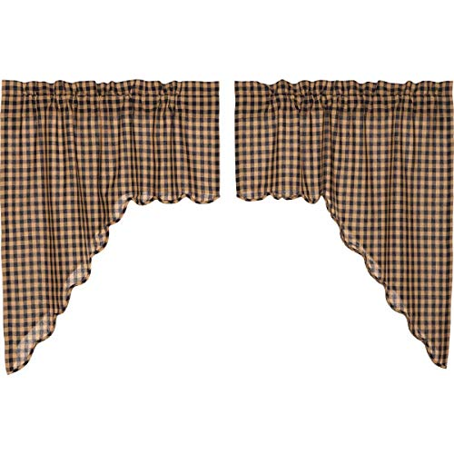 VHC Brands Classic Country Primitive Kitchen Window Curtains - Check Blue Scalloped Swag Pair, x King, Navy