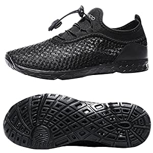 YUNGOD Men's Water Shoes Quick Drying Aqua Mesh Slip On Lightweight Walking Shoes (Women 10.5 B(M) US/Men 9.5 D(M) US, black)