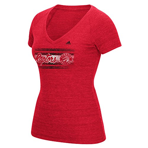 fan products of NBA Toronto Raptors Women's Woodgrain Stripe Tri-Blend V-Neck Tee, Medium, Red