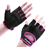 Dopobo Women Weightlifting Gloves Sports Gloves Unisex Half-finger Women Girls Gym Gloves for Dumbbells, Weight Lifting, Spinning, Yoga, Cycling(Black&Rose, M)