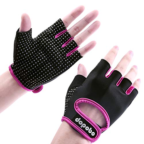 Dopobo Workout Gloves, Weight Lifting Gloves: Women Half Finger Gym Glove, Crossfit Glove for Weightlifting, Pull Up, Dumbbell, Cross Training, Powerlifting, Fitness Exercise, WODs, Climbing, Cycling