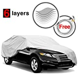 KAKIT 6 Layers Car Cover - Waterproof Windproof All Weather Snow Covers, for Summer Outdoor, Car Covers for Sedan Auto Automobiles, Free Windproof Ribbon & Anti-theft Lock, Fits 185