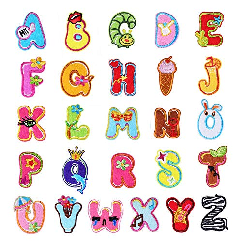 Iron on Patches Letters 26pcs A-Z Alphabet Patches Animal Shaped DIY Motif Iron On Or Sew On Patches Appliques for Jeans Jackets Backpacks (Style 9)