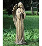 34.5″ Wood Carved Religious Praying Angel Outdoor Patio Garden Statue