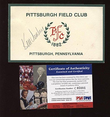 Ken Venturi Autographed Pittsburgh Field Club Golf Scorecard PSA/DNA