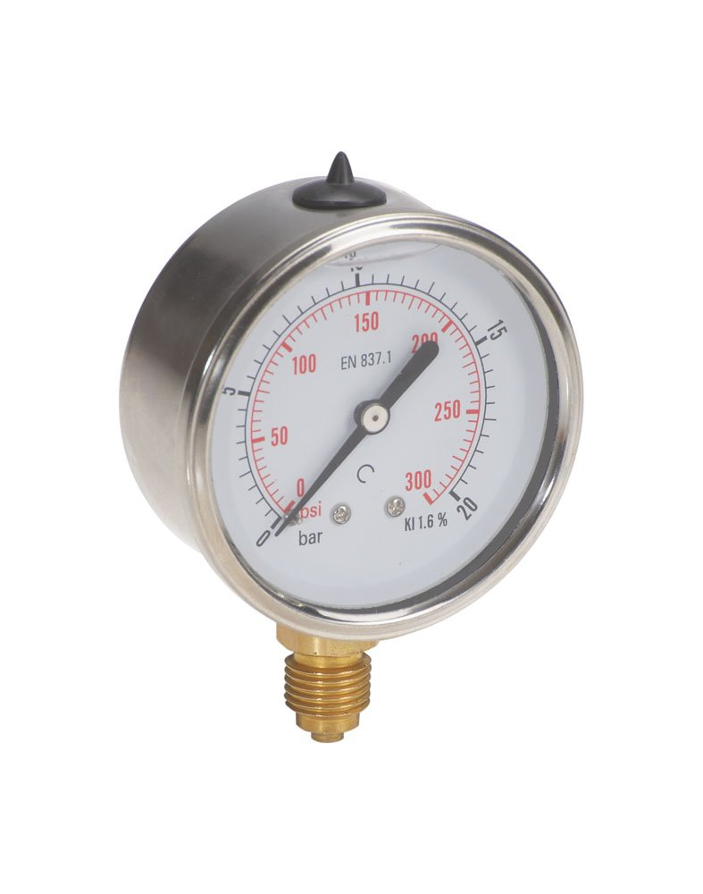 TrΔ le ZMFI6304250V Pressure gauge DN 63 vertical connection, Stainless Steel, 1/4' BSP, 0 bar-250 bar 1/4 BSP Dicsa