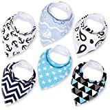 Baby Boy Bandana Drool Bibs - Set of 6 Cute Designs Extra-Soft Organic Cotton Bib for Delicate Skin, Perfect for Teething, Drooling, Breast Feeding, Burp & Spit-Up Messes, Outfit Accessory