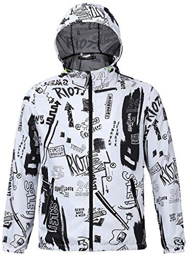 Pizoff Unisex Luxus Hip Hop Digital Print leichte Jacken Kapuze mit Kordelzug bunt Y1702-14-S