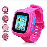 DUIWOIM Kids Game Smartwatch Digital Smart Watches Photo Sticker Camera Mini Games Alarm Clock Timer Health Monitor Pedometer Birthday Gifts for Boys and Girls Age 3-12 Years(Pink)