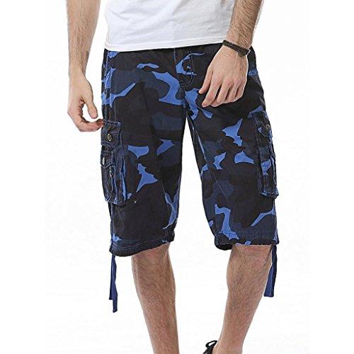 Inverlee Men Trouser Men's Casual Camouflage Pocket Beach Work Short Trouser Cargo Shorts Pant (31, Blue)