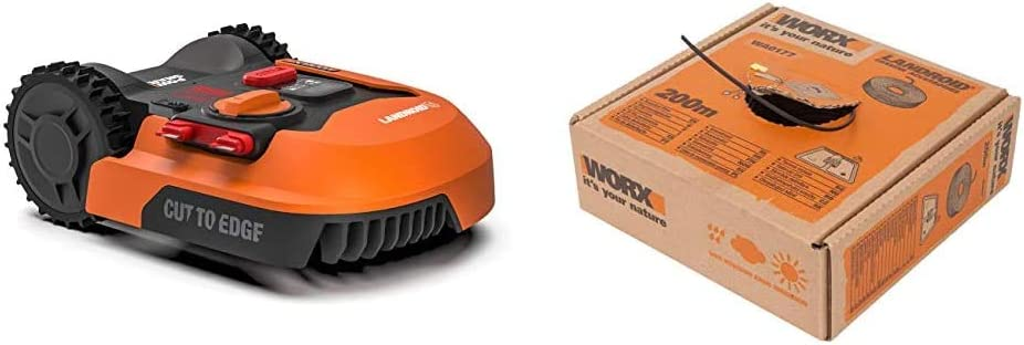 Worx WR143E - Robot Cortacésped Landroid M 1000 WiFi + WA0177 Cable Perimetral, Negro, 200 m