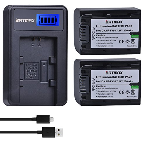 Batmax 2 Packs Battery + LCD Charger for Sony NP-FV30,NP-FV40,NP-FV50 Batteries;Sony FDR-AX53 HDR-CX230 HDR-CX220 CX330 CX380 CX455 CX900 CX430V TD30V FDR-AX100 Handycam Camcorder and More (Sony Dcr Sx45 Battery)