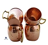 STREET CRAFT Set of-4, Hammered Copper Moscow Mule Mug Handmade of Pure Copper, Brass Handle Hammered Moscow Mule Mug / Cup, Capacity-16 Ounce.