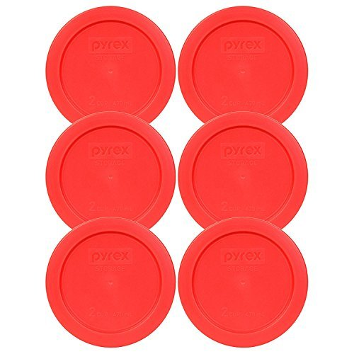 Pyrex 2 Cup Round Storage Cover #7200-pc for Glass Bowls (Pack of 6) - Red