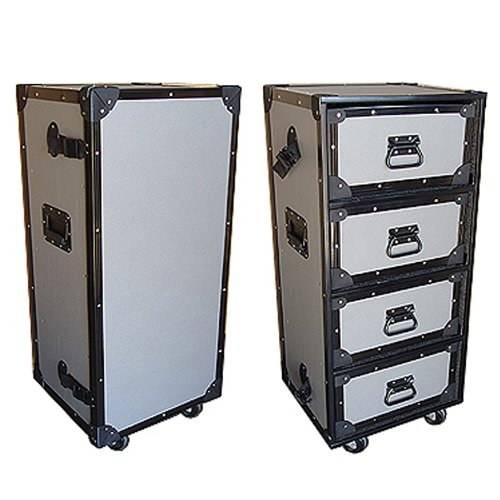 Drawer Work Trunk Medium Duty Tuffbox Road Case with 4 Drawers & Wheels - Small Size by Roadie Products, Inc.