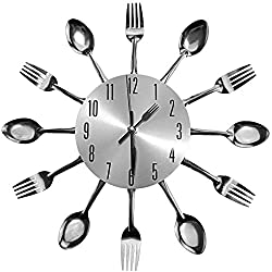 Creative Idear Ingenious Home Sliver Cutlery Utensil Wall Clock Fork Spoon Kitchen Clock