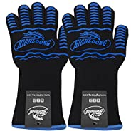 932°F Extreme Heat Resistant BBQ Oven Safety Gloves - EN407 Certified, Thick but Light Weight for Kitchen Potholder and Outdoors-1 pair (2 pieces set) (Black Long Cuff)