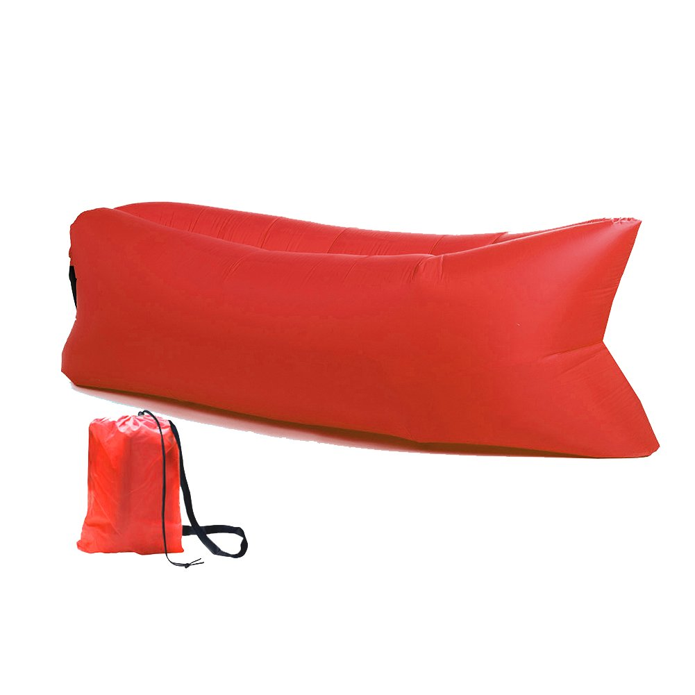 Panda Puff Hinchable Sofa Tumbona de Aire Color Rojo