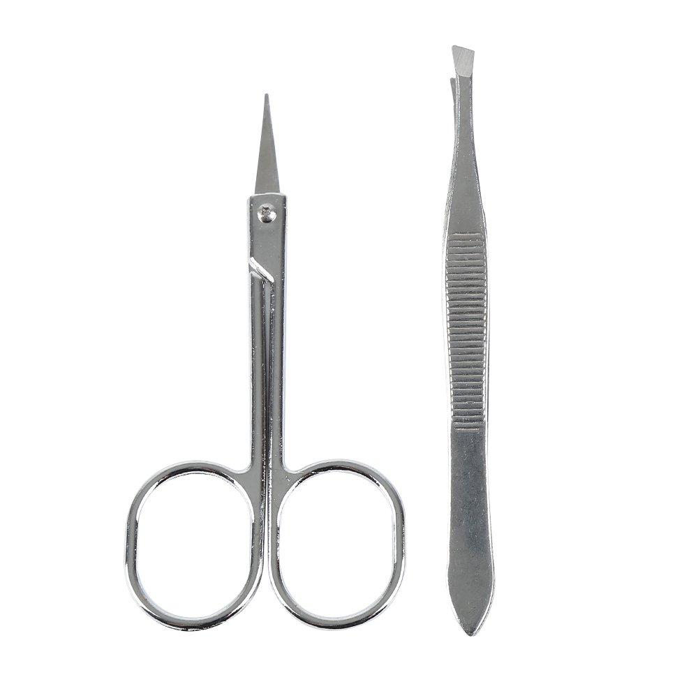 2PCS/set Stainless Steel Eyebrow Tweezer and Scissor Eyebrow Tweezer Kit with Brow Trimmer Scissor