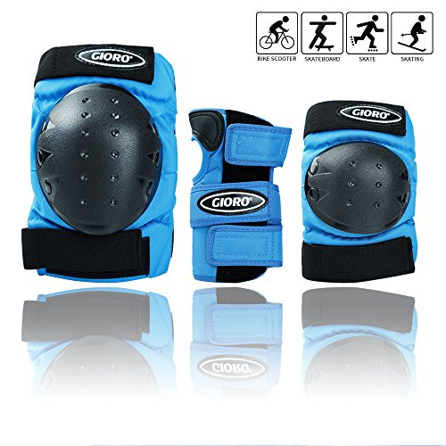 GIORO Adult/Child's Multi Sports Protective Gear, 3 in 1 Set Knee Pads Elbow Pads Wrist Guards for Skateboarding Skating Cycling Climbing Biking BMX Bicycle Scooter (Blue, Adult/Youth)