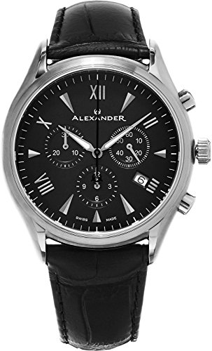 Alexander Heroic Pella Men's Multi-function Chronograph Black Dial Black Leather Strap Swiss Made Watch (Black Guilloche Dial)