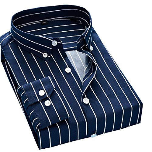 Coolred-Men Classic-Fit Single Breasted Business Stripes Plus Size Shirts Navy Blue 4XL ()