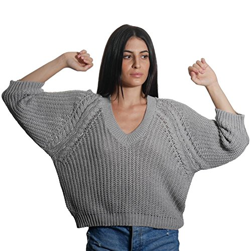 JUANA LA LOCA AND THE VICTORIANS - Mujeres Jersey de Manga Larga Cuello V Suéter Perlado Punto Basico, GRIS, M