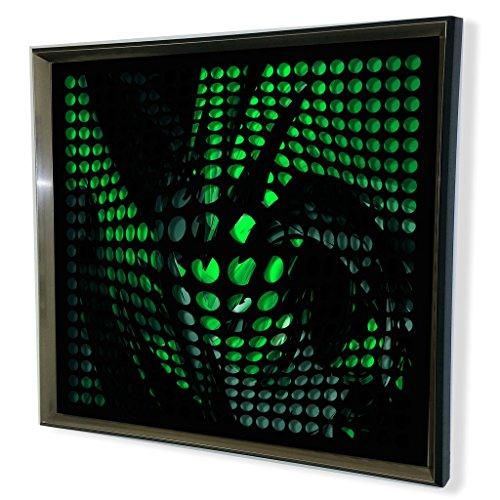 Designart Modern Black Tinted Green Shade Acrylic Vortex Mirror